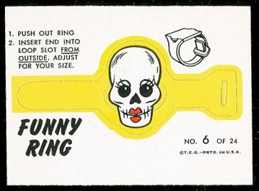 Mrs. Skull 1966 Topps Funny Rings football card