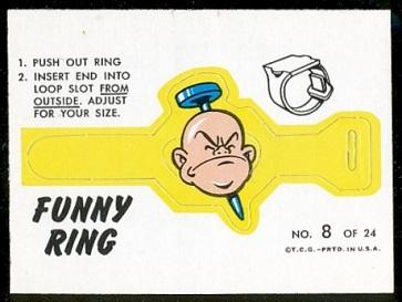 Nail thru Head 1966 Topps Funny Rings football card