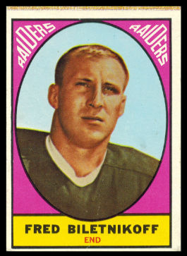 Fred Biletnikoff 1967 Milton Bradley football card