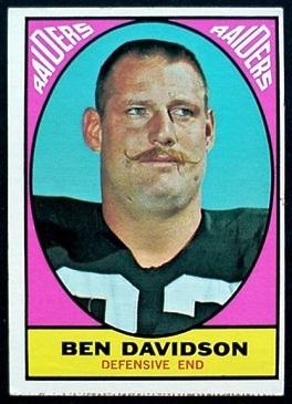 Ben Davidson 1967 Milton Bradley football card