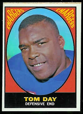 Tom Day 1967 Milton Bradley football card