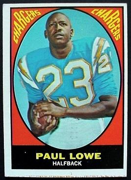 Paul Lowe 1967 Milton Bradley football card