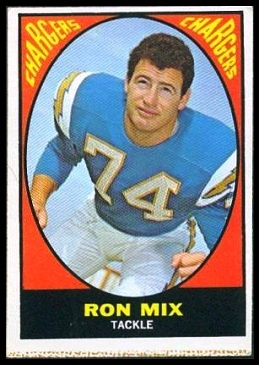 Ron Mix 1967 Milton Bradley football card