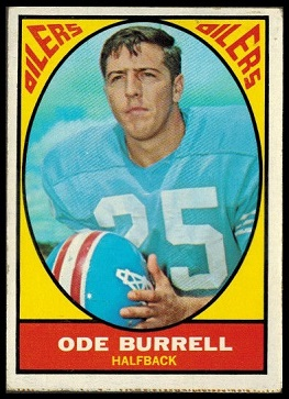 Ode Burrell 1967 Milton Bradley football card