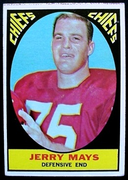 Jerry Mays 1967 Milton Bradley football card