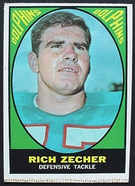 Rich Zecher 1967 Milton Bradley football card