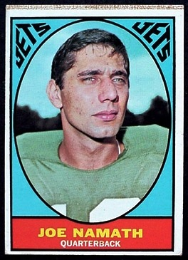 Joe Namath 1967 Milton Bradley football card