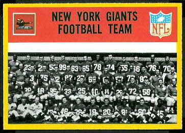 New York Giants Team 1967 Philadelphia football card