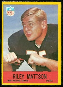 Riley Mattson 1967 Philadelphia football card