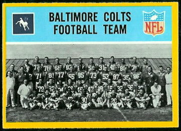 Baltimore Colts Team 1967 Philadelphia football card