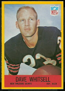 Dave Whitsell 1967 Philadelphia football card