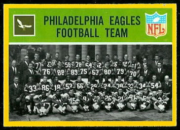 Philadelphia Eagles Team 1967 Philadelphia football card