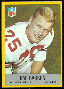 Jim Bakken 1967 Philadelphia football card