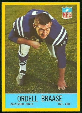 Ordell Braase 1967 Philadelphia football card