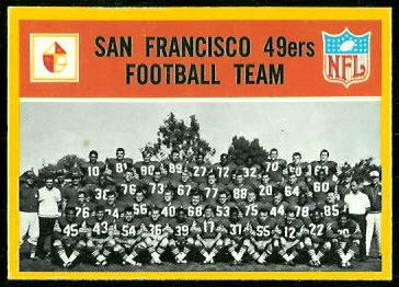 San Francisco 49ers Team 1967 Philadelphia football card