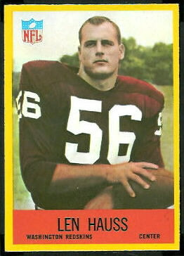 Len Hauss 1967 Philadelphia football card
