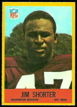 Jim Shorter 1967 Philadelphia football card