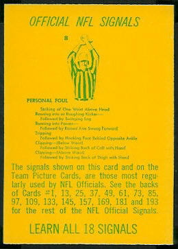 Referee Signals 1967 Philadelphia football card