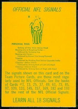 Referee Signals 1967 Philadelphia football card