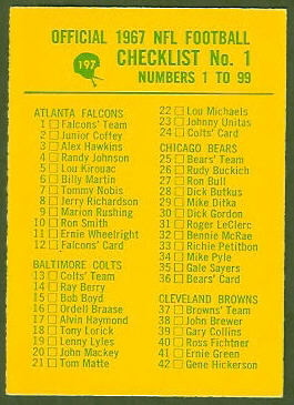 Checklist 1 1967 Philadelphia football card