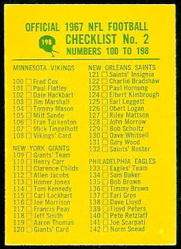 Checklist 2 1967 Philadelphia football card
