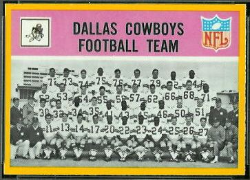 Dallas Cowboys Team 1967 Philadelphia football card