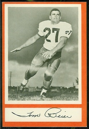 Tom Beier 1967 Royal Castle Dolphins football card