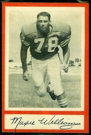 Maxie Williams 1967 Royal Castle Dolphins football card