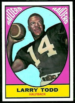Larry Todd 1967 Topps football card