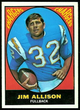 Jim Allison 1967 Topps football card