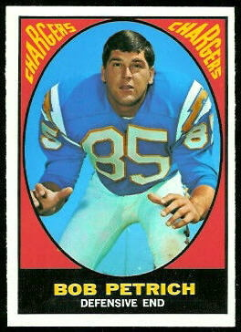 Bob Petrich 1967 Topps football card