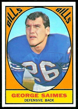 George Saimes 1967 Topps football card