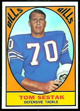 Tom Sestak 1967 Topps football card