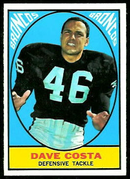 Dave Costa 1967 Topps football card
