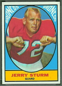 Jerry Sturm 1967 Topps football card