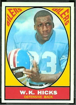 W.K. Hicks 1967 Topps football card