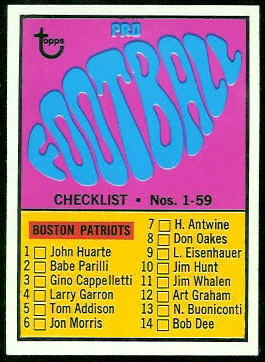 Checklist  1967 Topps football card