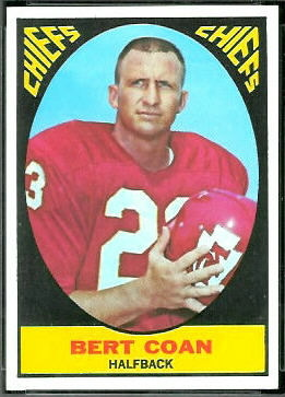 Bert Coan 1967 Topps football card