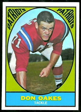 Don Oakes 1967 Topps football card