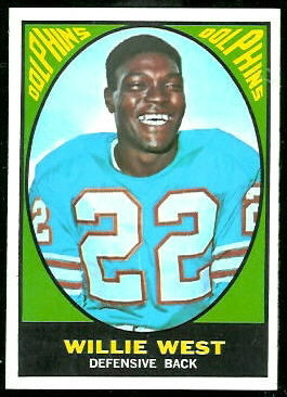Willie West 1967 Topps football card