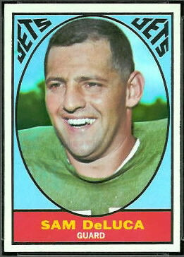 Sam DeLuca 1967 Topps football card
