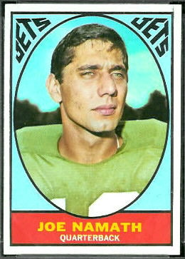 Joe Namath 1967 Topps football card