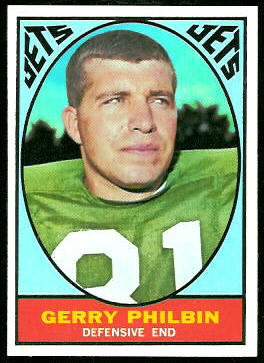 Gerry Philbin 1967 Topps football card