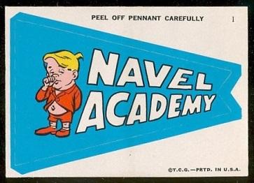 Navel Academy 1967 Topps Krazy Pennants football card