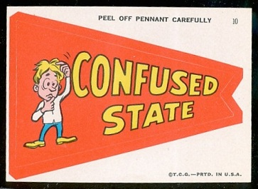 Confused State 1967 Topps Krazy Pennants football card