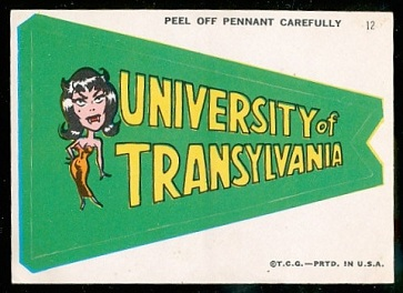 University of Transylvania 1967 Topps Krazy Pennants football card