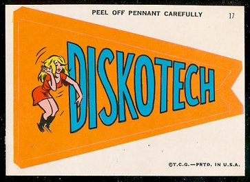 Diskotech 1967 Topps Krazy Pennants football card