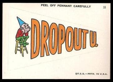 Dropout U. 1967 Topps Krazy Pennants football card