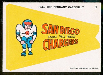 San Diego Police Will Press Chargers 1967 Topps Krazy Pennants football card