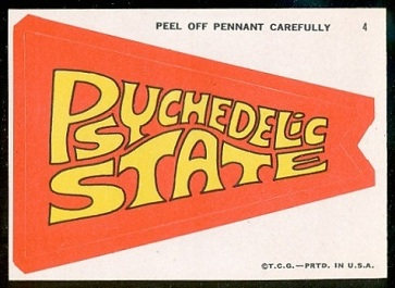 Psychedelic State 1967 Topps Krazy Pennants football card